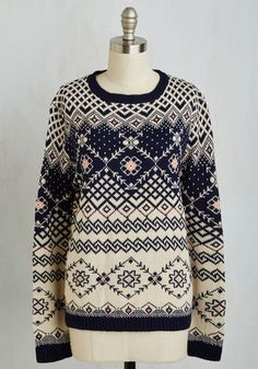 Cute winter sweater with a vintage print.
