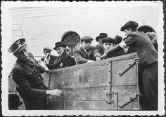 Bratislava, Slovakia, Jews climbing onto a truck during deportation. Standing by them is a Slovakian militiaman. Bratislava Slovakia, Military Units, Total War, Persecution, World War Two, Ww2, Climbing, Truck, Museum