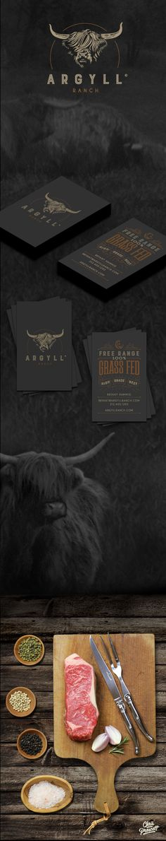 Graphic design / branding / photography graphic design for Argyll Ranch. The logo for this ranch is a custom illustration of a Scottish Highland bull with textured typography. Located in the heart of Wisconsin in Argyle; this farm raises Scottish Highland beef which is allowed free-range access to the overall farm utilizing organic standards. Business card consists of wood type style western typography with flourish & celestial moon illustration. Graphic Designer Chris Prescott cprescott.com
