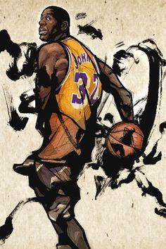 Magic Johnson LA Lakers Signed Wallpaper | Basketball Wallpapers ...