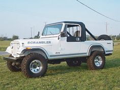 "The Great 8 Restoration/Raffle Jeep Scrambler) Founded in The Scrambler Owners Association (SOA) is a group of people who all share a passion for the ""long Jeep,"" the Scrambler. The SOA's goal is to promote fellowship within the small Scrambler community. Jeep Cj, Jeep Wrangler Jk, Jeep Scrambler, Magazine Images, Cool Jeeps, Jeep Pickup, Hot Cars, Roads, Offroad"