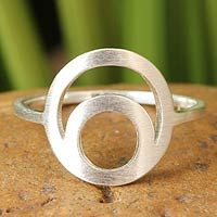 Sterling silver cocktail ring, 'Eclipse'