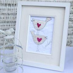 Lovebirds Embroidered Textile Framed Wall Art Picture | Fabric Red Velvet Heart Design | Wedding & E