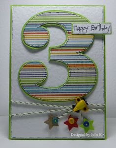 "Another awesome ""number"" card for CASEing.  Just adore that stripey paper!"