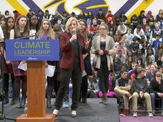 Alberta premier Rachel Notley explains the NDP government's climate change plan to students at Queen Elizabeth High School in Edmonton on November 25, 2015.