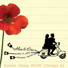 Custom Rubber Stamp: We are in love (Couple silhouettes on scooter design). Personalized Wedding Stamp, RSVP, Return Address Stamp (2100)