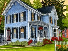Victorian Home ~ Hometown On A Summer Day, East Aurora NY by Thelma Winter
