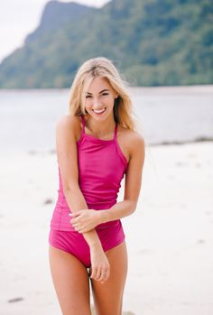 SHOP HERE! We can't get over these sassy, modest and CHIC tankini tops! Pair with matching high waisted bottoms for additional coverage, turning the suit into a one piece look! Slimming, sexy and stunning are just a few words to describe this NEW Magenta One Piece! Also available in Jade and our Clementine print! | albionfit.com