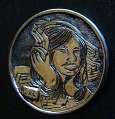 Hobo Nickel 1935 Hand Engraved Indain Head Coin Music Girl By Ronald Proulx Hobo Nickel, Hand Engraving, Knight, Coins, Carving, Music, Art, Musica, Art Background