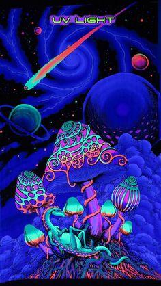 Batik UV Backdrop Cosmic Shrooms Wandbehang x Hippie Goa Psy Tuch Kunst Hippie Wallpaper, Trippy Wallpaper, Retro Wallpaper, Hippie Painting, Trippy Painting, Art Mural, Wall Art, Wall Decor, Trippy Pictures