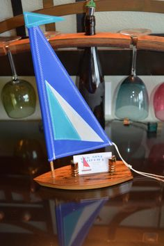 Spaulted Maple Sailboat Card Holder by DogGoneSailboats on Etsy