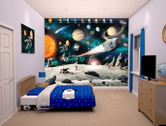 Space Adventure Mural. #Space #OuterSpace #Moon #Sun #SpaceRocket #Wallpaper #Mural #ChildrensDecor