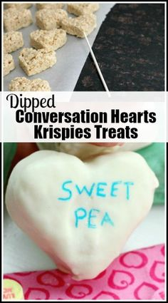 Dipped Conversation Hearts Krispies Treats Recipe - Heart Rice Krispies Treats for a fun kids Valentine's Day dessert or snack! snappygourmet.com
