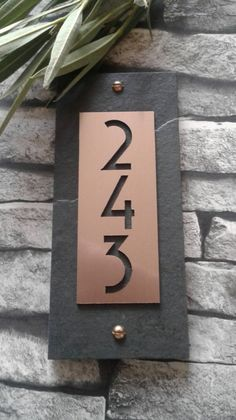 House numbers copper modern vertical address plaque in 2019 Craftsman House Numbers, Modern Craftsman, House Numbers Modern, Metal House Numbers, House Address Numbers, House Number Plaques, Number Signs For House, House Address Sign, Farmhouse House Numbers