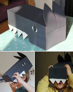 make a wolf from cardboard box// Diy For Kids, Crafts For Kids, Wolf Craft, Cardboard Costume, Diy Papier, Crafts With Pictures, Three Little Pigs, Animal Masks, Animal Crafts