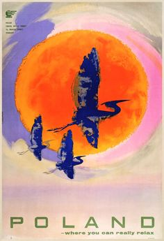 This travel poster was originally by the Orbis Polish Travel Office,  16 Bracka Street, Warsaw.    It was used to promote tourism.  The poster  shows an image of birds flying with a vibrant  warm looking sun in the background.    The age of the original poster dates to the 1960's approximately.