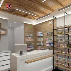 Find high quality drug display wall mounted shelves here from MOOKOO which is one of the leading Pharmacy Shop Display manufacturers and suppliers in China. 3d Interior Design, Design Exterior, Interior Design Services, Pharmacy Store, Hospital Pharmacy, Pharmacy Humor, Counter Design, Cosmetic Shop, Wall Mounted Shelves
