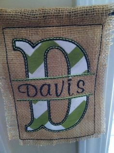 Burlap Garden Flag with Split Name  Chevron  by ShopSewSouthern, $15.00