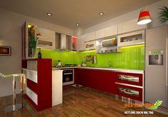 Tủ bếp gỗ Acrylic dạng chữ U – TBU18