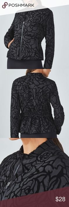 NWT Fabletics Paola Puffer Jacket, Size Small Brand new with tags, never worn. Got a larger size based on reviews but it's slightly too big for me, was super bummed. My loss is your gain! Beautiful black rose pattern/detailing.  100% Polyester, Water-Resistant Fabric, Quilted Front and Back, Shirred Back Panel Fabletics Jackets & Coats