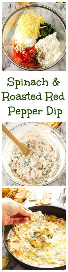 Delicious Dips: Spinach and Roasted Red Pepper Dip with Greek Yogurt | This creamy and cheesy dip is the perfect appetizer for parties and holiday entertaining! Serve with Town House Flatbread Crisps with Sea Salt and Olive Oil. Recipe via @reciperunner. Ways To Wow AD WAYS TO WOW SWEEPS