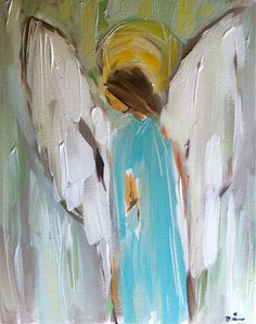 Angel Painting Canvas Aqua Abstract large by DevinePaintings