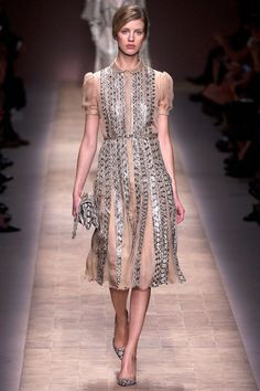 Valentino Spring 2013 again, I love the snake skin (not sure what kind) detailing on this dress!!