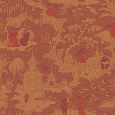Chinese Toile Red Wallpaper By Cole Son
