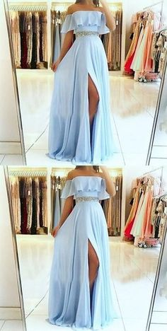 A-Line Off the Shoulder Split Front Blue Chiffon Prom Dress with Beading Belt so. - - A-Line Off the Shoulder Split Front Blue Chiffon Prom Dress with Beading Belt sold by Fantasy on Storenvy Source by Pretty Prom Dresses, Prom Dresses Blue, Ball Dresses, Elegant Dresses, Cute Dresses, Ball Gowns, Sexy Dresses, Summer Dresses, Chiffon Prom Dresses