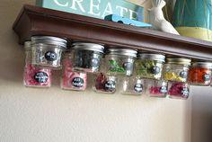 Screw Lids To A Shelf For Genius Mason Jar Storage