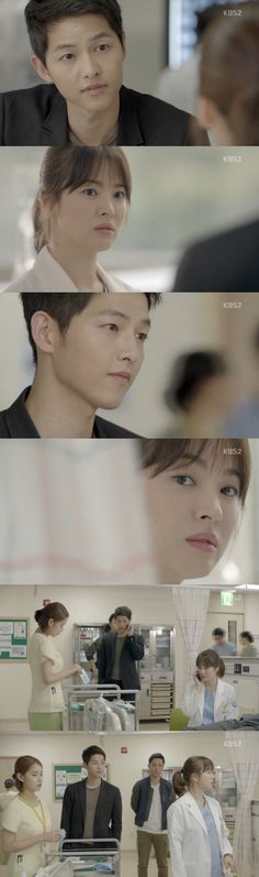 The first episode of the highly anticipated Wednesday & Thursday drama, KBS 2TV's 'Descendants of the Sun' was broadcast on February 24th. When Yoo Si-jin (Song Joong-ki) and Seo Dae-yeong (Jin Goo) bumped into a pickpocket, the two brought the thief under control. As the pickpocket was injured during the struggle, they applied first aid and brought him to the hospital. The doctor who treated the pickpocket was Kang Mo-yeon (Song Hye-kyo).