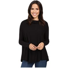Free People Lover Rib Thermal (Black) featuring polyvore women's fashion clothing tops thermal pullover ribbed mock turtleneck dolman-sleeve top thermal tops turtle neck top