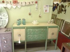 PJH Designs Hand Painted Antique Furniture: Green and White Buffet