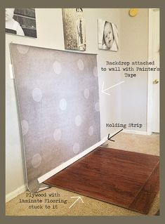 Setting up an indoor studio using paper backdrop, laminate flooring, and a molding strip. #photography
