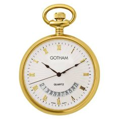 Gotham Mid-Size Gold-Tone Swiss Quartz Date Movement Pocket Watch # GWC14057G Gotham. $59.95. Beautiful mid-sized round polished gold-tone pocket watch perfect for engraving. Elegant textured white dial with hand applied gold-tone Roman numerals plus gold hands. Arrives with deluxe draw string pouch and gift box, Selvyt polishing cloth, operating instructions and lifetime limited warranty card. Precision Swiss quartz date movement plus scratch resistant mineral crystal. Include...
