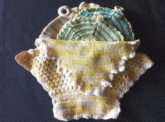 VINTAGE HANDMADE CROCHETED BASKET FULL OF POTHOLDERS in Collectibles, Linens & Textiles (1930-Now), Kitchen Textiles   eBay