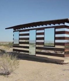 Lucid Stead — Joshua Tree National Park, Calif.  This little shack is made of LED lighting, mirrors and custom-built electronic programming.