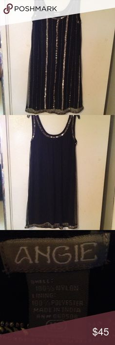 Angie Short Evening Dress Size XS. Angie Lined Black Sleeveless Evening Dress with Silver Beading and Sequins Size XS. Angie Dresses Midi