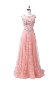 A-line Scoop Pearl Pink Prom Dress Evening Dress Formal Dress With Lace Blush Pink Prom Dresses, Prom Dresses Long With Sleeves, Unique Prom Dresses, Prom Dresses For Sale, Formal Evening Dresses, Formal Dresses, Homecoming Dresses, Pink Tulle, Tulle Lace