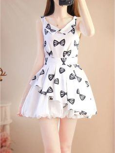 """Sweet Bow Chiffon Dress $32.70 enter the coupon code """"thingsfromjapan"""" to get 10% off http://thingsfromjapan.net/sweet-bow-chiffon-dress/ #cute Japanese dress #kawaii dress #Japanese fashion"""