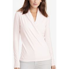 Lauren Ralph Lauren Petite Surplice Jersey Shirt ($70) ❤ liked on Polyvore featuring tops, pale rose, pink jersey shirt, wrap shirt, rose shirt, draped wrap top and pink top