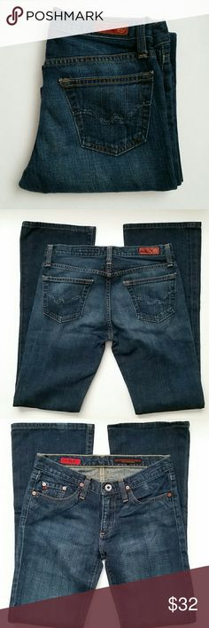 AG jeans The Angel dark jeans. Preloved condition no holes or major flaws.  Bottom of pant leg a spot on hemline otherwise perfect pair of premium denim AG Adriano Goldschmied Jeans Boot Cut