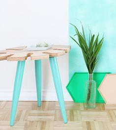 DIY Tropical Leaf Side Table