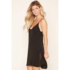 Forever 21 Women's  V-Neck Slip Dress ($10) ❤ liked on Polyvore featuring dresses, v neckline dress, v neck dress, pleated chiffon dress, forever 21 dresses and chiffon dress
