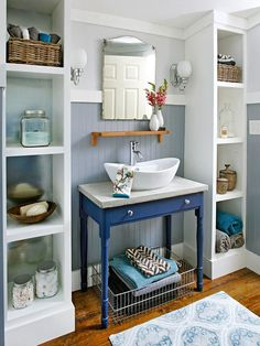 Freestanding shelves to help organize in the bathroom.