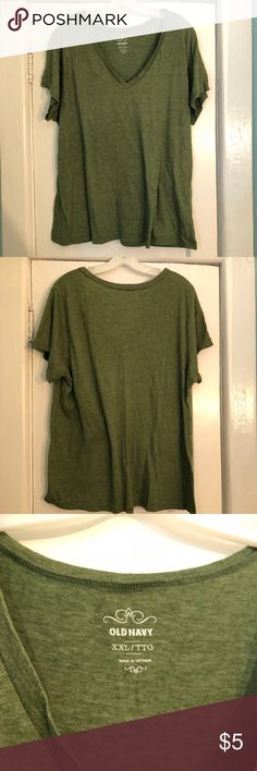Green Old Navy V-Neck T-Shirt Green Old Navy V-Neck T-shirt. Good used condition. Home is smoke free and cat friendly. Same shirt in purple and grey also available in my closet. Bundle for an even better deal! Old Navy Tops Tees - Short Sleeve