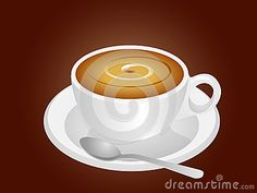 Beautiful elegant vector coffee cup with plate and spoon.