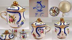 RARE Antique Sevres France Hand Painted Flowers Porcelain Lidded Handle Pot Jar in Antiques, Decorative Arts, Ceramics & Porcelain, Jars | eBay