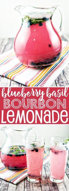 Blueberry Basil (Bourbon) Lemonade: Celebrate the best parts of summer with fresh squeezed blueberry basil lemonade - a generous splash of bourbon optional. {Bunsen Burner Bakery}