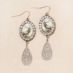 Rhinestone Stag Earrings  by Elements by Jill Schwartz  #Antler #Antlers
